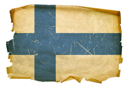 Finland Flag old, isolated on white background. photo