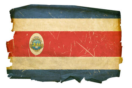 Costa Rica flag old, isolated on white background. photo