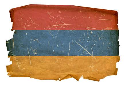 Armenia Flag old, isolated on white background. photo