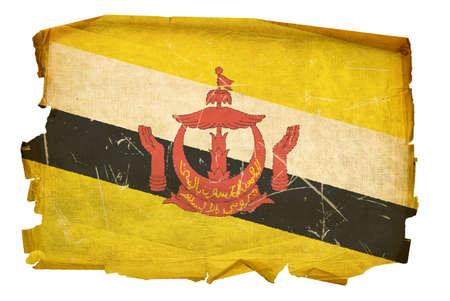 Brunei Flag old, isolated on white background. photo