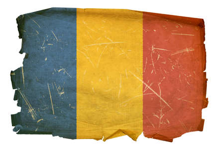 chadian: Chadian Flag old, isolated on white background.