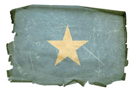 somali: Bandera de Somalia antiguo, aislado sobre fondo blanco