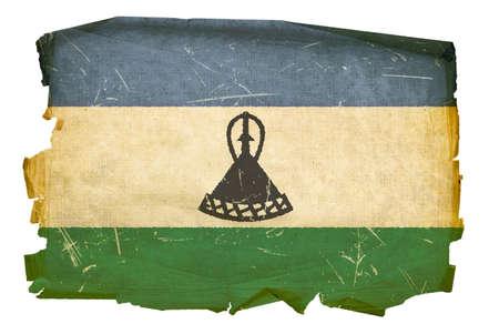 Lesotho flag old, isolated on white background photo