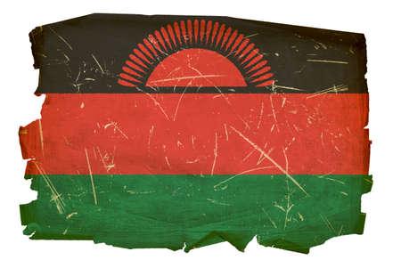 ent: Malawi Flag old, isolated on white background