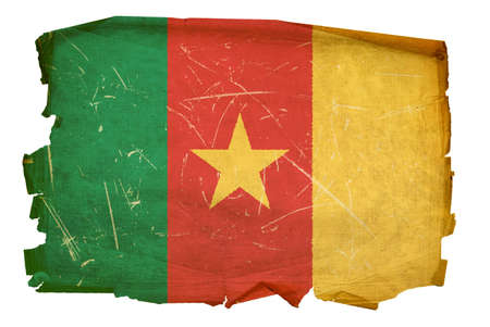 battered: Cameroon flag old, isolated on white background