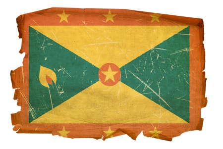 ent: Grenada flag old, isolated on white background Stock Photo