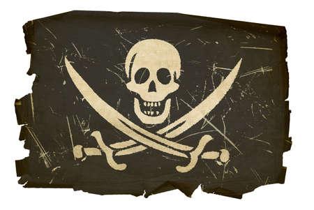 Pirate Flagge alten, isolierten auf weißem Hintergrund Standard-Bild