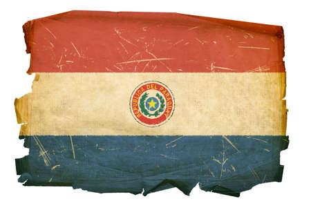 Paraguay flag: Paraguay bandera de antigua, aislado sobre fondo blanco.