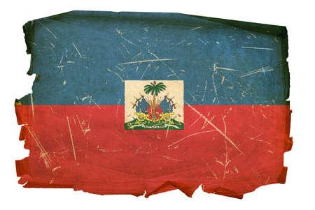 port au prince: Hait� Bandera de edad, aislado en fondo blanco. Foto de archivo