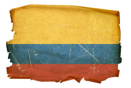 Colombia Flag old, isolated on white background. photo