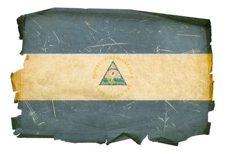 Nicaragua Flag old, isolated on white background. photo