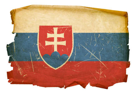 slovak: Slovakia Flag old, isolated on white background.