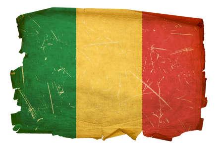 Mali Flag old, isolated on white background. photo