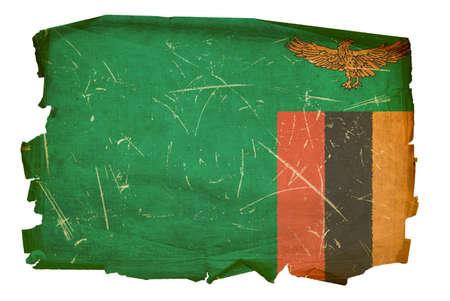 zambian: Zambia Flag old, isolated on white background.