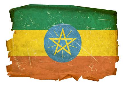 ethiopian: Ethiopia Flag old, isolated on white background.