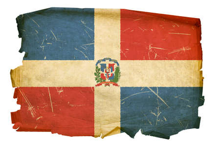 Dominican Republic Flag old, isolated on white background. photo
