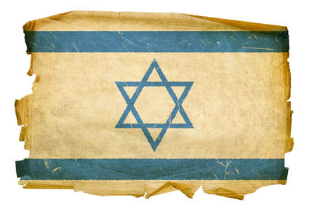 tel: Israeli Flag old, isolated on white background. Stock Photo