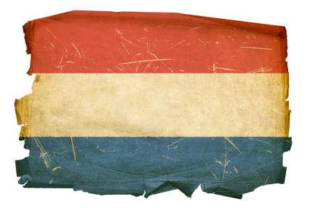 Niederländische Flagge alt, isoliert auf weißem Hintergrund. Standard-Bild
