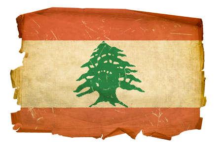 Lebanese Flag old, isolated on white background. photo