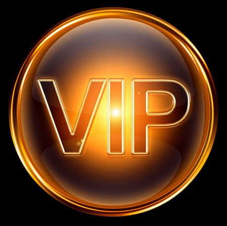 Vip icon gold, isolated on black background Reklamní fotografie - 6051932
