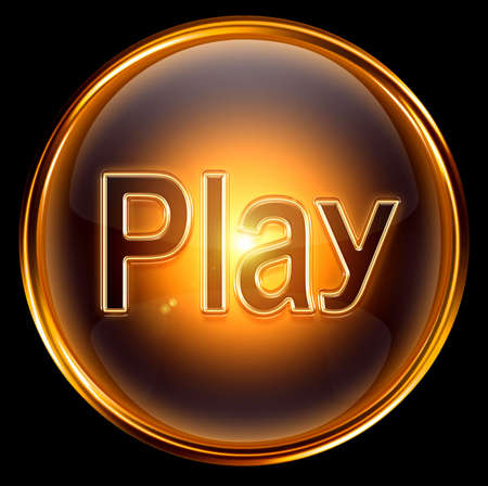 player buttons: Play icon gold, isolated on black background