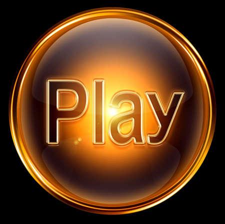 Spielen Sie Symbol gold, auf schwarzem Hintergrund isoliert Standard-Bild