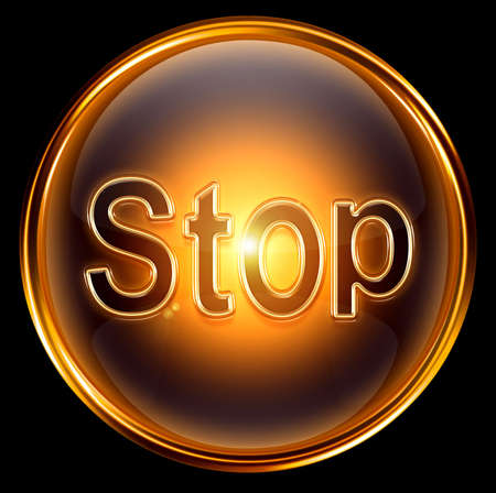 Stop icon gold, isolated on black background photo