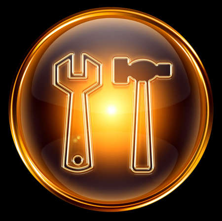 Tools icon gold, isolated on black background Stock Photo - 6173138