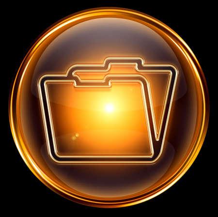 Folder icon gold, isolated on black background photo