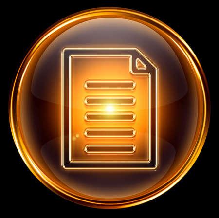 Document icon gold, isolated on black background photo
