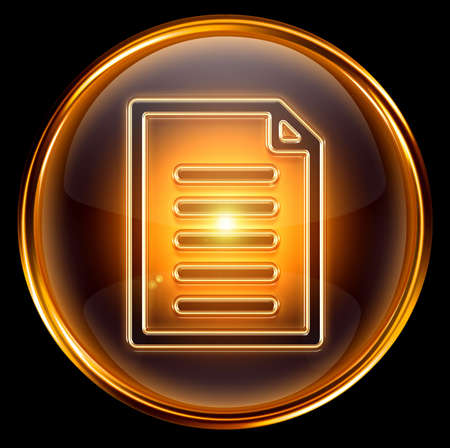 archive site: Document icon gold, isolated on black background