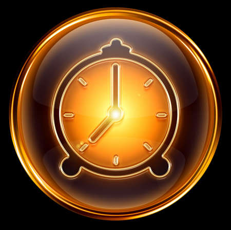 Clock icon gold, isolated on black background photo