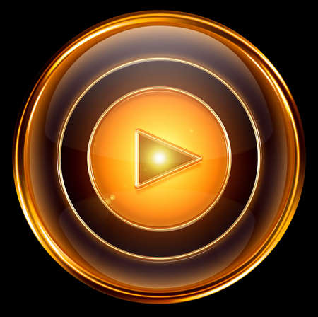 Play icon gold, isolated on black background photo