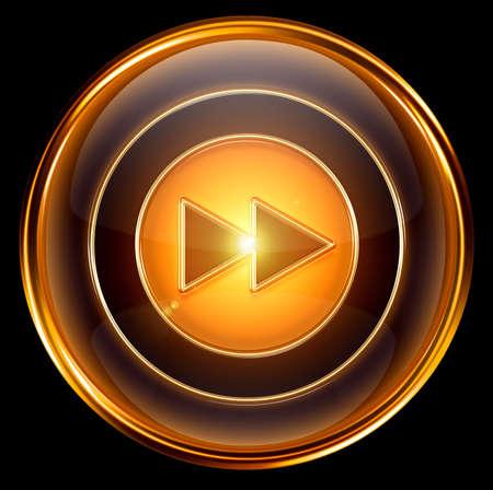 Rewind Forward icon gold, isolated on black background photo