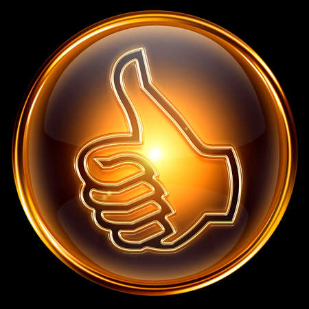 thumb up icon golden, isolated on black background Stock Photo - 7150617