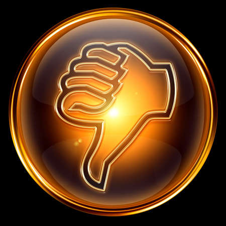 thumb down icon golden, isolated on black background. photo