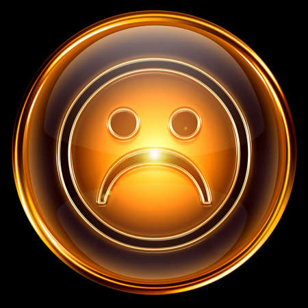 affliction: Smiley dissatisfied icon golden, isolated on black background.