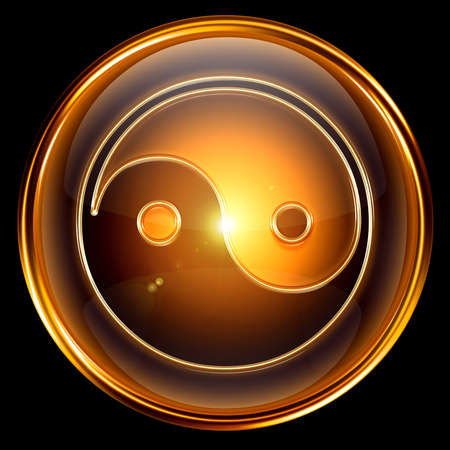 yang style: yin yang symbol icon golden, isolated on black background.