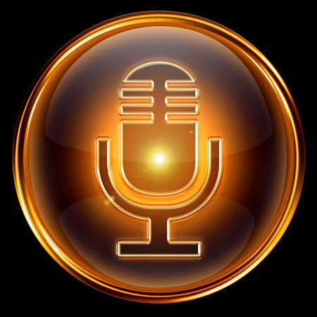 Microphone icon golden, isolated on black background. photo
