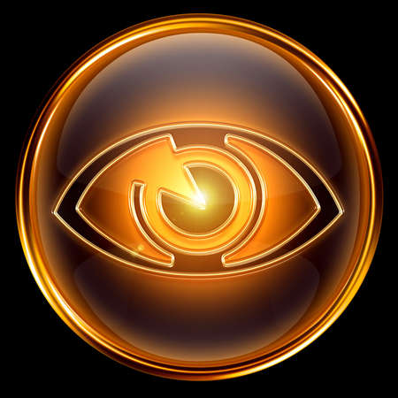 icons site search: eye icon golden, isolated on black background.
