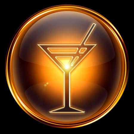wine-glass icon golden, isolated on black background. photo
