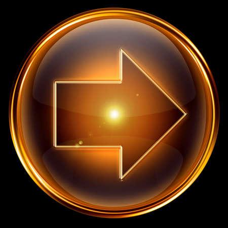 flecha derecha: Flecha derecha icono oro, aislados en fondo negro