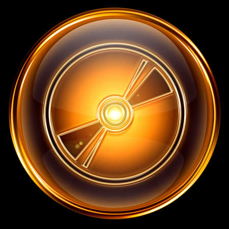 cdr: Compact Disc icon golden, isolated on black background.