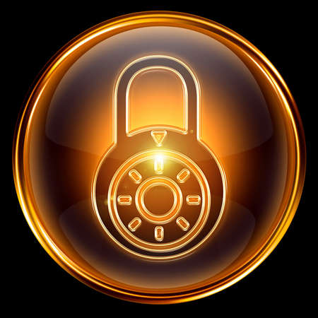Lock closed icon gold, isolated on black background Stock Photo - 7204477