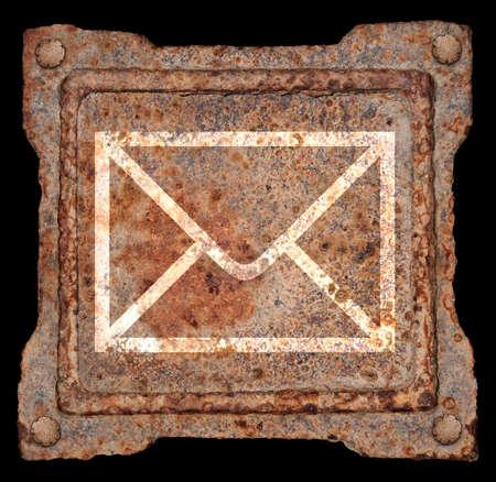 Envelope icon old metal, isolated on black background photo