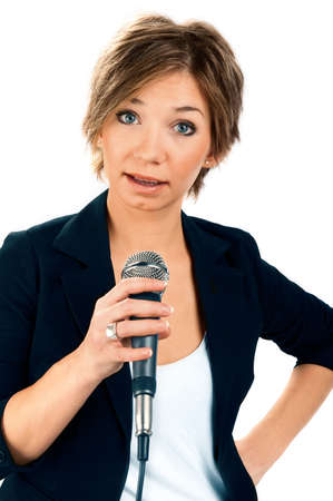 TV Correspondent on white background photo