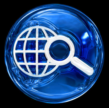 clearer: globe and magnifier icon blue, isolated on black background.
