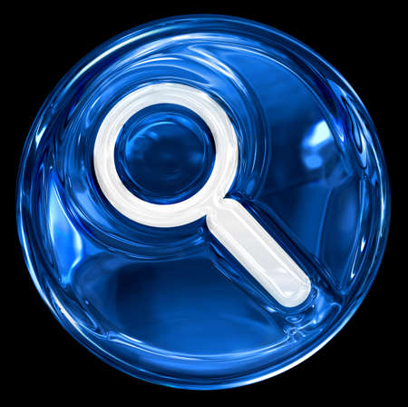 clearer: search and magnifier icon blue, isolated on black background.