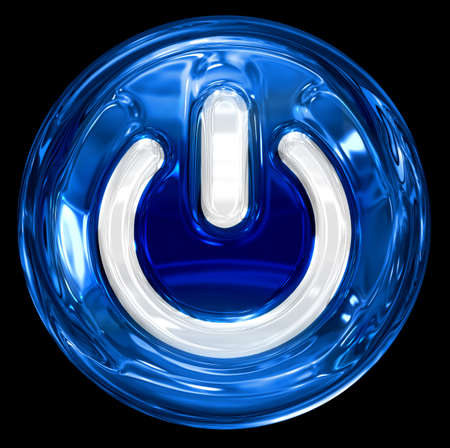 power button blue, isolated on black background. Stock Photo - 8832017