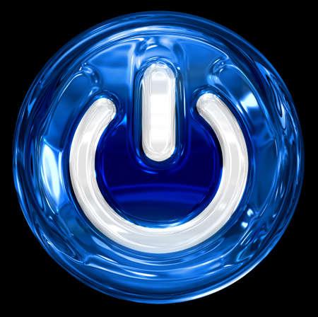 Power-Taste blau, isoliert auf schwarzem Hintergrund.